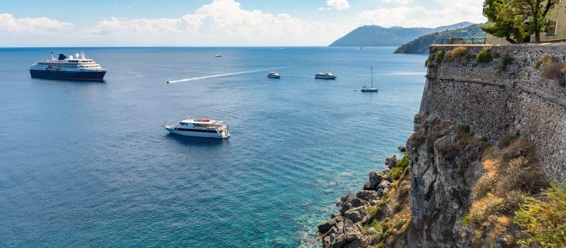 Ships at the coast of Lipari Island